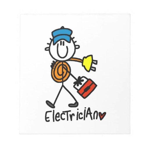 Electrician Stick Figure Memo Notepads