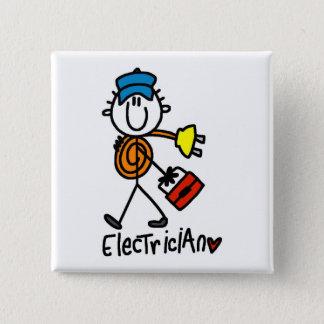 Electrician Stick Figure Pinback Button
