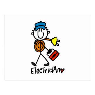 Electrician Stick Figure Postcard