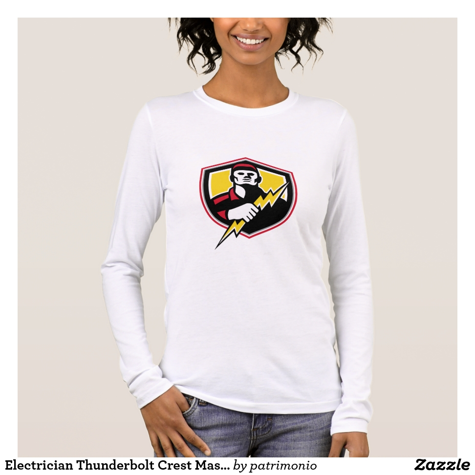 Electrician Thunderbolt Crest Mascot Long Sleeve T-Shirt - Best Selling Long-Sleeve Street Fashion Shirt Designs