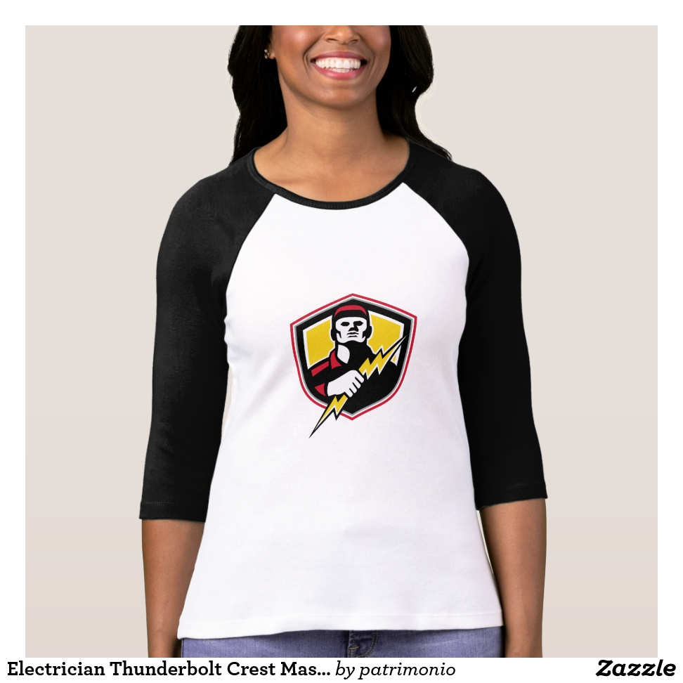 Electrician Thunderbolt Crest Mascot T-Shirt - Best Selling Long-Sleeve Street Fashion Shirt Designs