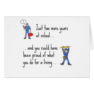 Electrician to Plumber apparels Greeting Card