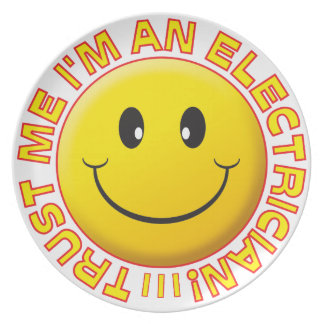 Electrician Trust Me Smiley Dinner Plate
