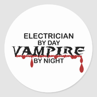 Electrician Vampire by Night Classic Round Sticker