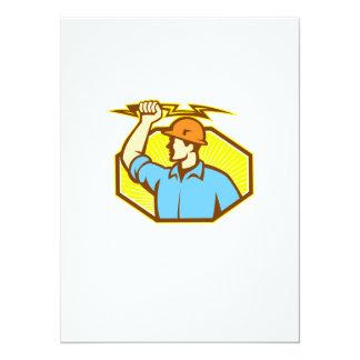 Electrician Wielding Lightning Bolt Personalised Invitation