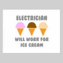 Electrician ... Will Work For Ice Cream Postcard
