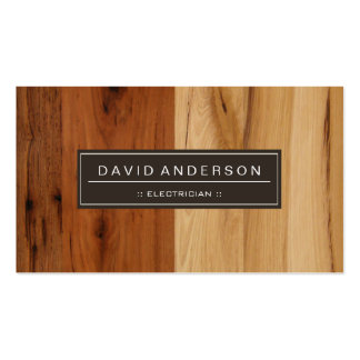 Electrician - Wood Grain Look Double-Sided Standard Business Cards (Pack Of 100)