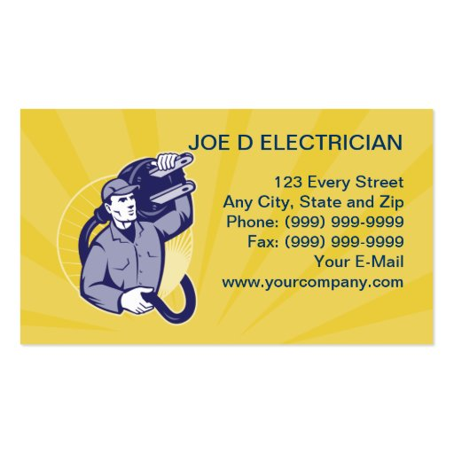 electrician worker repairman business card
