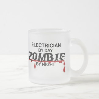 Electrician Zombie Frosted Glass Coffee Mug