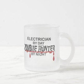 Electrician Zombie Hunter Frosted Glass Coffee Mug