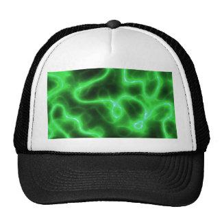 Electricidad abstracta verde que brilla intensamen gorros