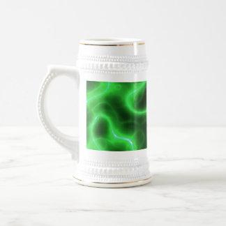 Electricidad abstracta verde que brilla intensamen taza de café