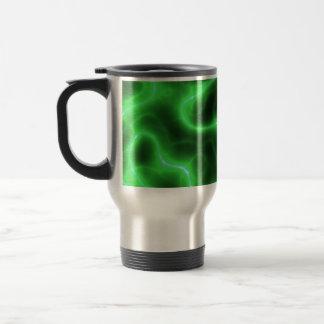 Electricidad abstracta verde que brilla intensamen tazas