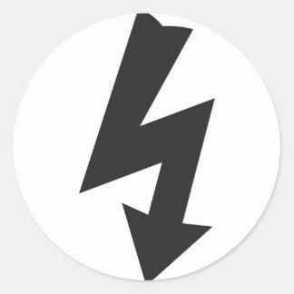 Electricidad eléctrica del trueno del símbolo pegatina redonda
