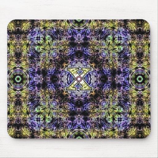 Electricidad púrpura amarilla X del fractal Tapete De Ratones