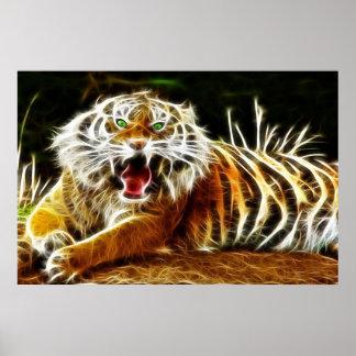Electricidad que brilla intensamente 1 del tigre d impresiones