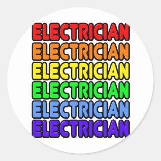 Electricista del arco iris pegatina redonda