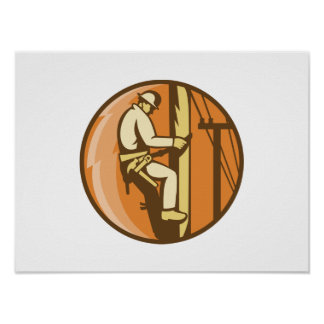 Electricista del instalador de líneas del poder qu póster