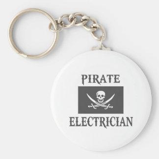 Electricista del pirata llavero redondo tipo pin