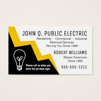 Electricista del rayo de la bombilla eléctrico tarjetas de visita