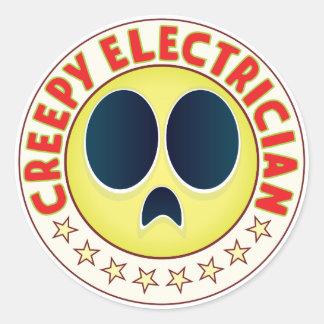 Electricista espeluznante pegatina redonda