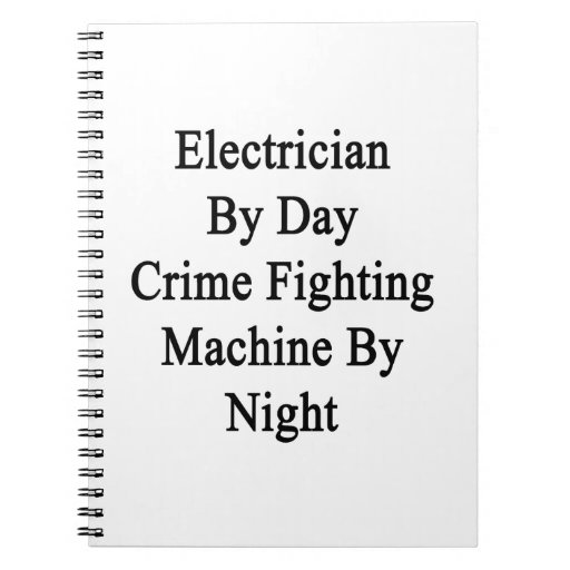 Electricista por la máquina que lucha del crimen d libros de apuntes con espiral