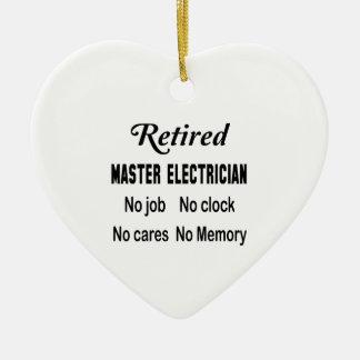 Electricista principal jubilado ningún trabajo adorno navideño de cerámica en forma de corazón