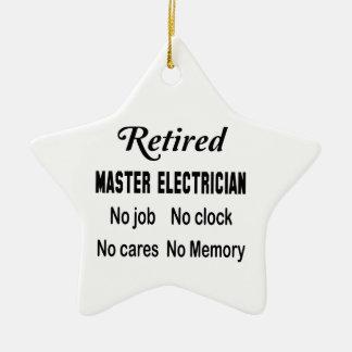 Electricista principal jubilado ningún trabajo adorno navideño de cerámica en forma de estrella