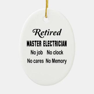 Electricista principal jubilado ningún trabajo adorno navideño ovalado de cerámica