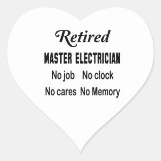 Electricista principal jubilado ningún trabajo pegatina en forma de corazón