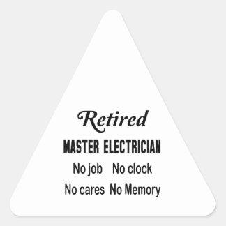Electricista principal jubilado ningún trabajo pegatina triangular