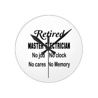 Electricista principal jubilado ningún trabajo reloj redondo mediano