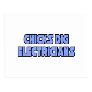 Electricistas del empuje de los polluelos postales