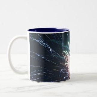 Electricity Blue Fireworks Mug - customizable