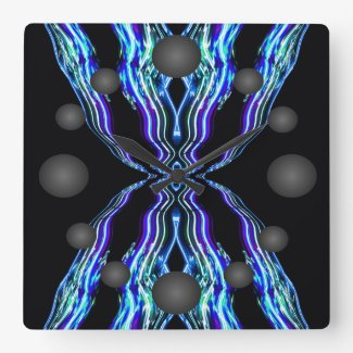 Electricity Electron Blue Electric Fire Lightning Square Wall Clock