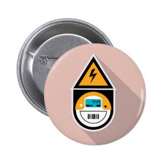 Electricity Meter. Digital. Pinback Button