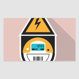 Electricity Meter. Digital. Rectangular Sticker