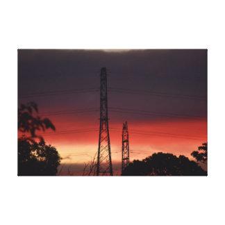 ELECTRICITY POLES & PINK SUNSET RURAL AUSTRALIA CANVAS PRINT