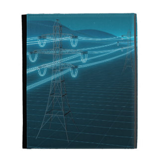 Electricity pylon with glowing power lines 2 iPad folio cover