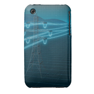 Electricity pylon with glowing power lines 2 iPhone 3 covers