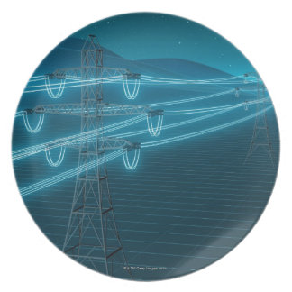 Electricity pylon with glowing power lines 2 dinner plate