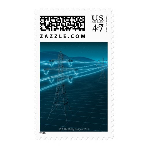 Electricity pylon with glowing power lines 2 postage stamp