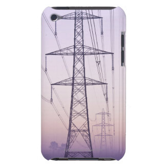 Electricity pylons in mist at dawn. iPod touch case