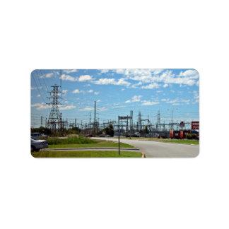 Electricity relay station custom address label
