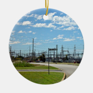 Electricity relay station Double-Sided ceramic round christmas ornament