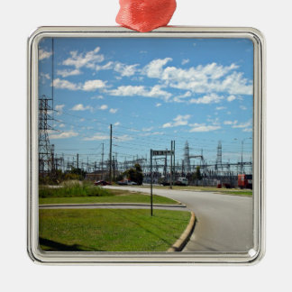 Electricity relay station square metal christmas ornament