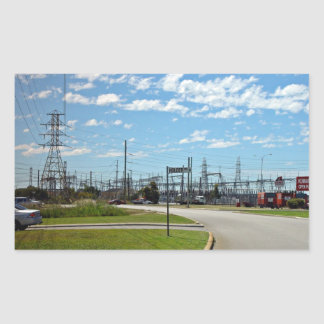 Electricity relay station rectangular sticker