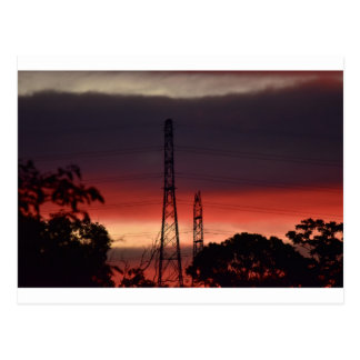 ELECTRICITY TOERS & PINK SUNSET RURAL AUSTRALIA POSTCARD