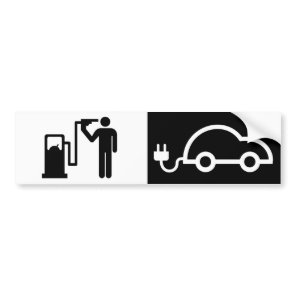 Electricity Versus Natural Gas Suicide Fuel Nozzle Bumper Sticker