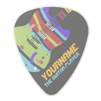 eléctrico-guitarra colorida con su nombre y banda, plectro de carbonato